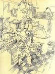 Le cuisinier dans sa mayence - Dessin Guenther T. Schulz