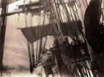 4-mâts dans la tempête, misaine réduite et petit hunier déchiré - collection Michel Maurin